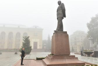President Aliyev arrives in Ganja city